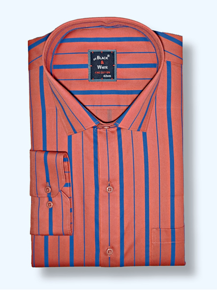 Black & White Men Rust Red and Blue Regular Fit Stripped Formal Shirt-38-1