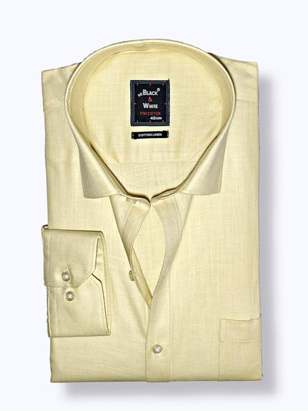 Black & White Men Formal Shirt-Slim Fit,Full sleeve, Light Yellow Plain-FSLY-1