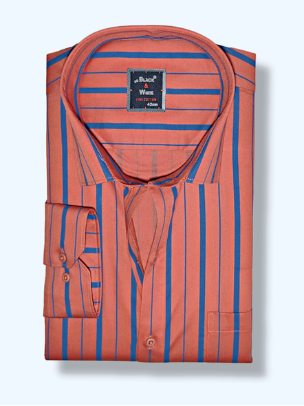 Black & White Men Rust Red and Blue Regular Fit Stripped Formal Shirt-FSRS-1