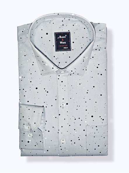 Black & White Men Formal Shirt-Slim Fit,Full sleeve, Gray Colour  with Printed Dots-FSWP-1