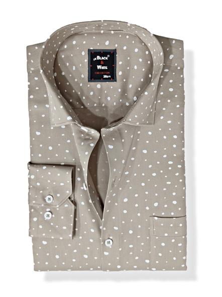 Black & White Men Formal Shirt-Slim Fit,Full sleeve, Light Gray with Print-FSLGP-1