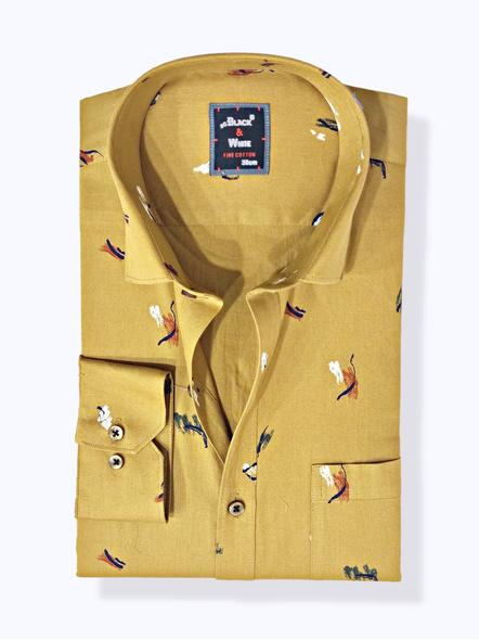 Black & White Men Formal Shirt-Slim Fit,Full sleeve, Dark Golden with Printed-FSDG-1