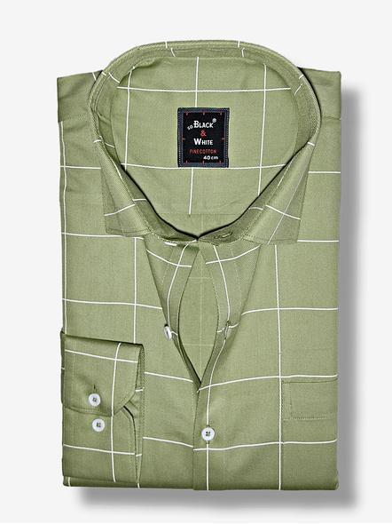 Black & White Men Olive Green Checked Reglar Fit Formal Shirt-38-1