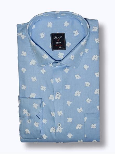 Black & White Men Sky Blue And White Printed Formal Shirt-FSLB-1