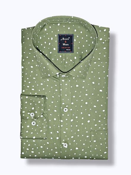 Black & White Men Olive Green Printed Regular Fit Formal Shirt-FSOG-2