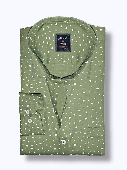 Black & White Men Olive Green Printed Regular Fit Formal Shirt-38-1