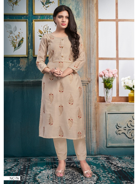 Silk Straight Long Cream Colour Kurti With Golden Print-10377300