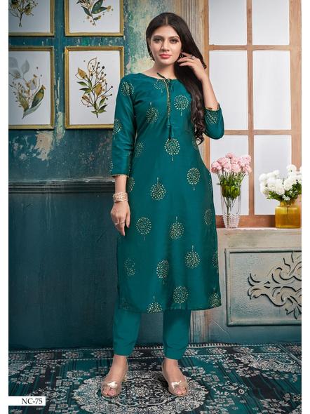 Silk Straight Long Green Kurti With Golden Print-10377298