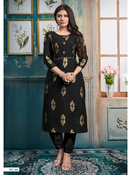 Silk Straight Long Black Kurti With Golden Print-10377290