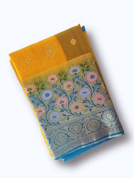 Lemon Yellow Saree In Organza Banarasi Touch-10711052