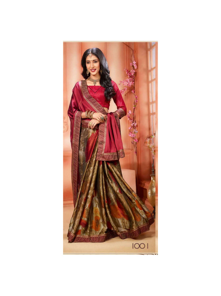 Printed Red Colour Saree-10711198