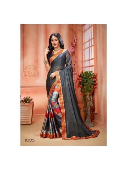 Printed Dark Gray Colour Saree-10711202