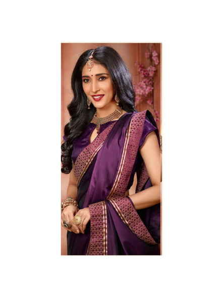Printed Purple Colour Saree-1