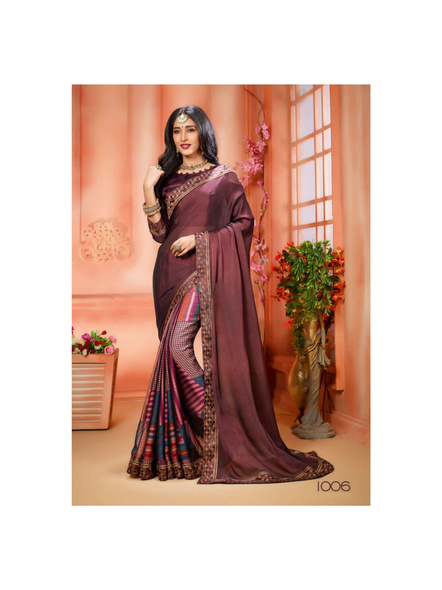 Printed Dark Maroon Colour Saree-10711206