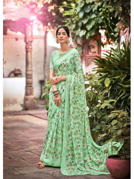 Green Red Floral Print Chiffon Saree-10799434