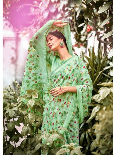 Green Red Floral Print Chiffon Saree-1