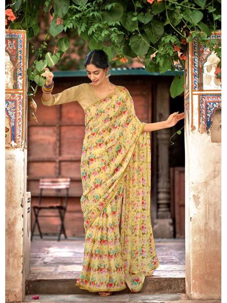 Yellow Red Floral Print Chiffon Saree-10799436