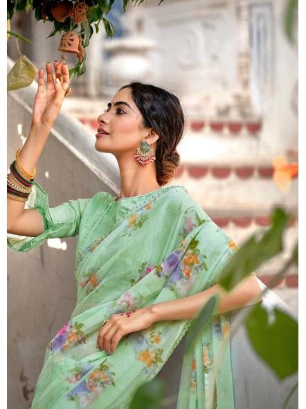 Pista Green Floral Print Chiffon Saree-1