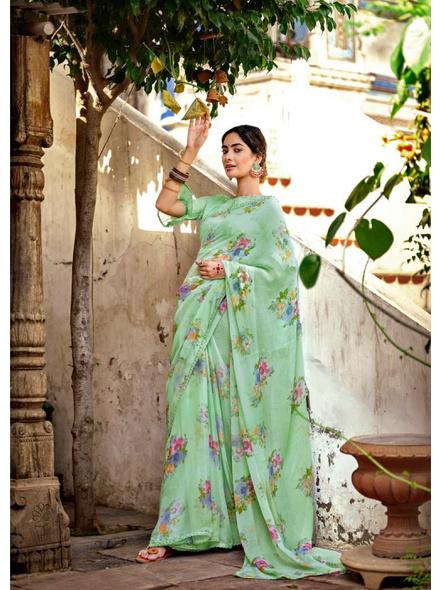 Pista Green Floral Print Chiffon Saree-10799438