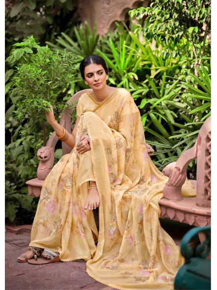Yellow Floral Print Chiffon Saree-1