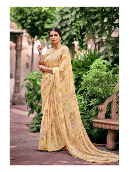 Yellow Floral Print Chiffon Saree-10799440