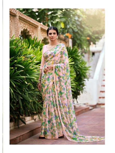Pink Green Floral Print Chiffon Saree-10799442