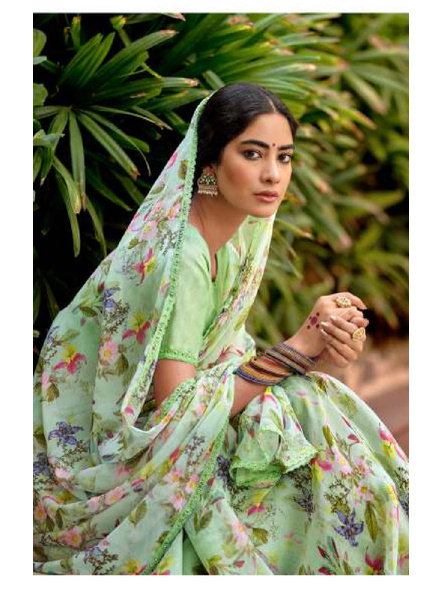 Green Floral Print Chiffon Saree-1