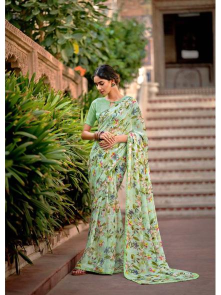 Green Floral Print Chiffon Saree-10799444