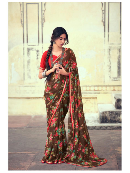 Brown Floral Print Chiffon Saree-10802838