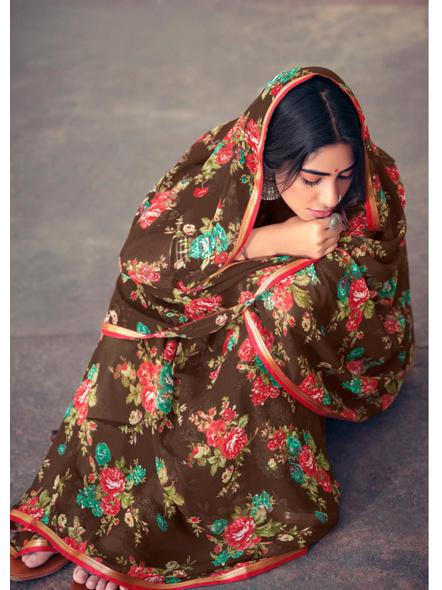 Brown Floral Print Chiffon Saree-1