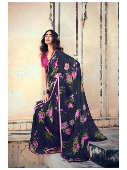 Navy Pink Floral Print Chiffon Saree-10802844