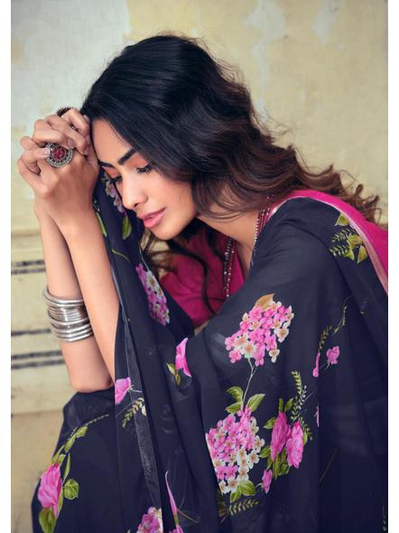 Navy Pink Floral Print Chiffon Saree-1