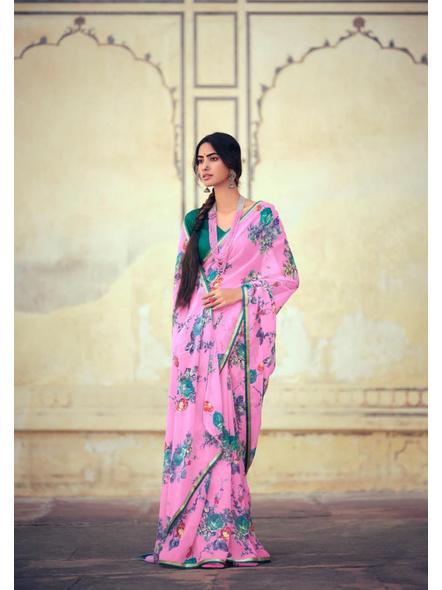 Pink Green Floral Print Chiffon Saree-10802848