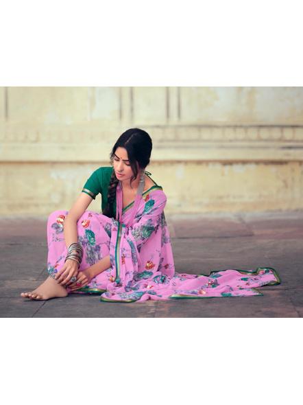 Pink Green Floral Print Chiffon Saree-1