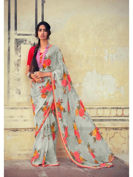 Gray Red Floral Print Chiffon Saree-10802850