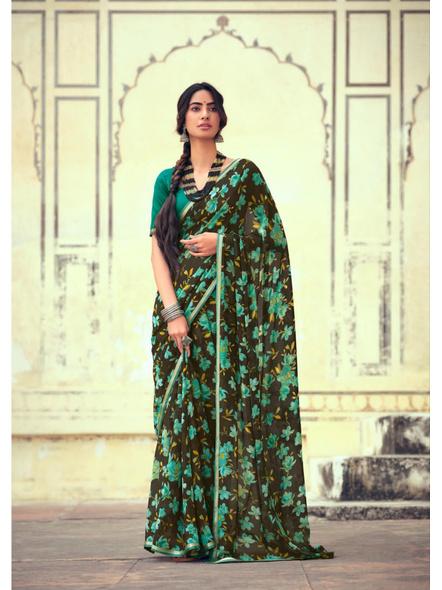 Olive Green Floral Print Chiffon Saree-10802852