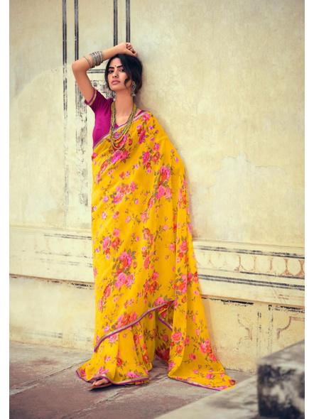 Yellow Magenta Floral Print Chiffon Saree-10802854