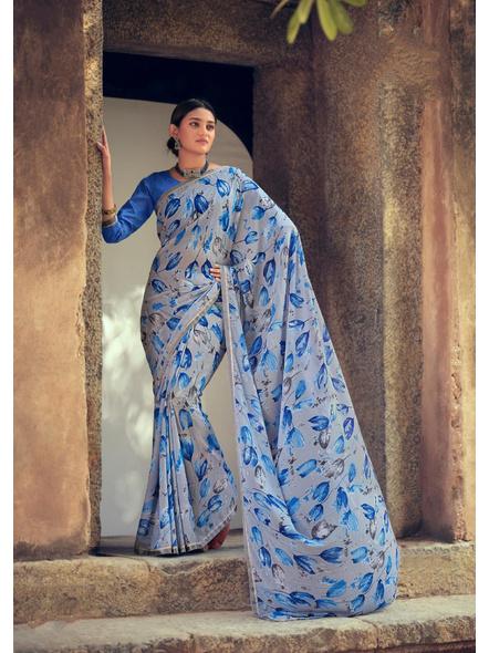 Sky Blue Floral Print Soft Georgette Saree-10834474
