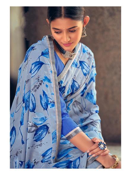 Sky Blue Floral Print Soft Georgette Saree-1
