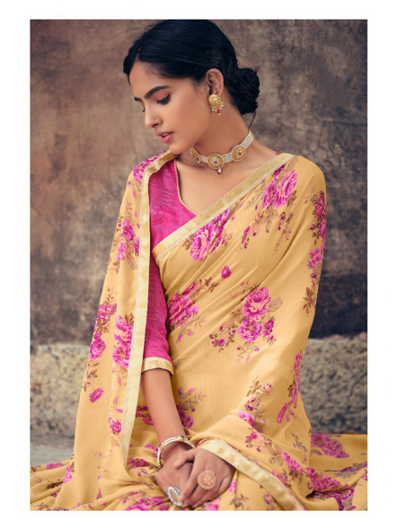 Yellow Floral Print Soft Georgette Saree-1