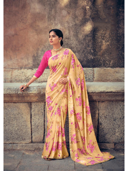 Yellow Floral Print Soft Georgette Saree-10837278
