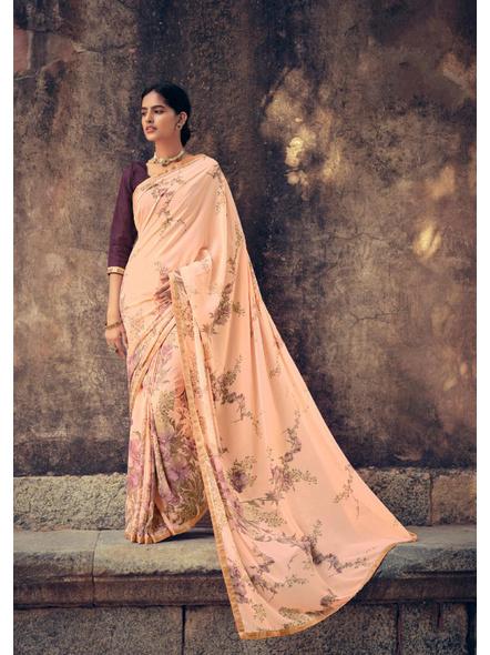 Peach Colour Floral Print Soft Georgette Saree-10837306
