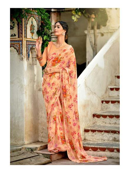 Peach Colour Floral Print Chiffon Saree-10837308