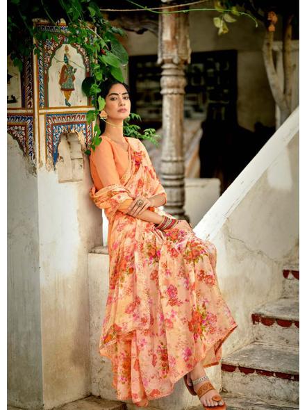 Peach Colour Floral Print Chiffon Saree-1
