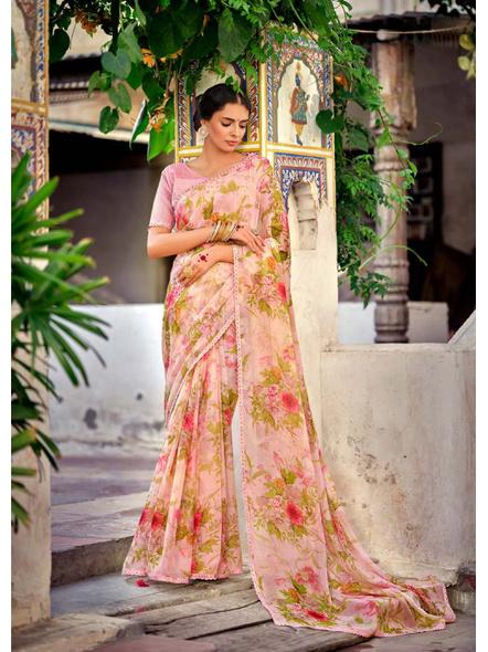 Pink Colour Floral Print Chiffon Saree-10837320