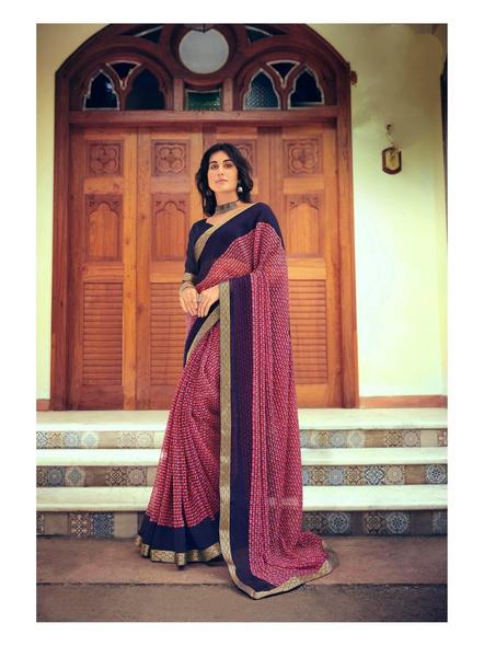 Red Colour Floral Print Chiffon Saree-10865192