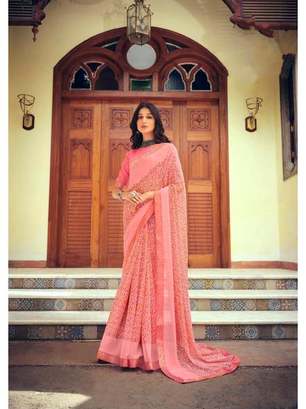 Pink Colour Floral Print Chiffon Saree-10865194
