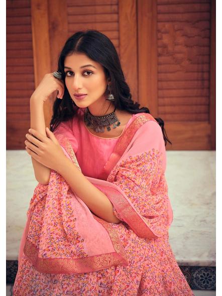 Pink Colour Floral Print Chiffon Saree-1