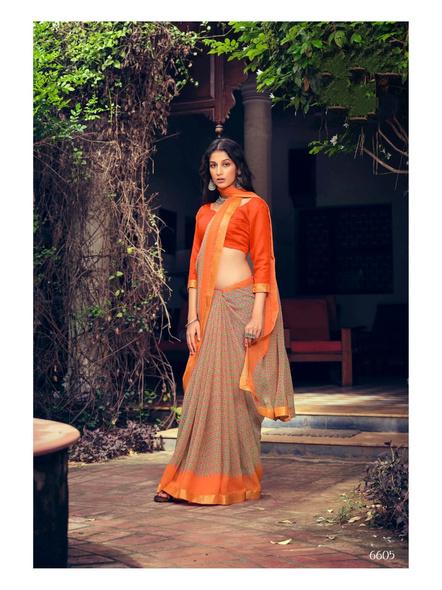 Orange Colour Floral Print Chiffon Saree-1