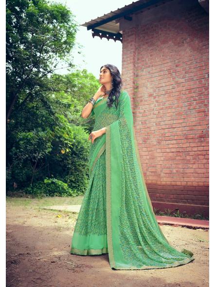Green Colour Floral Print Chiffon Saree-10865198